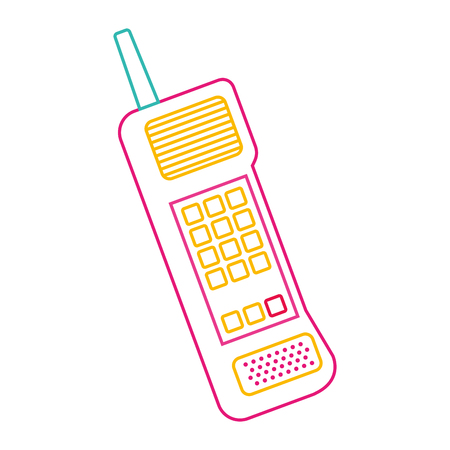 Old mobile phone vintage communication icon vector illustration color line image.