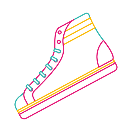 Classic sneaker boot vintage sport vector illustration color line image