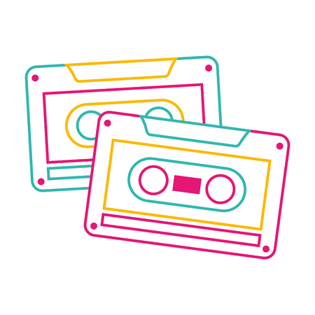 cassettes recorder tape music vintage vector illustration color line image