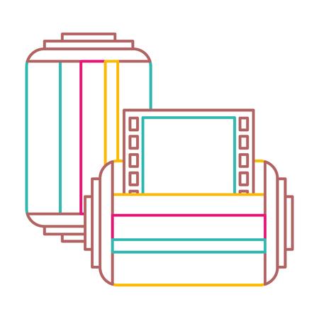 two roll tape photo negative retro design vector illustration color line image