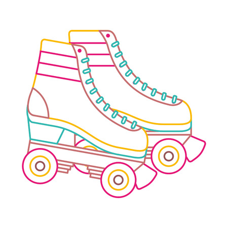 retro roller skates wheels trendy vintage vector illustration color line image Illustration