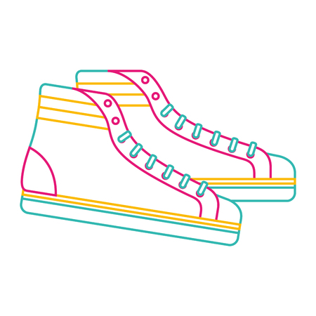 vintage classic sneakers laced fashion retro vector illustration color line image