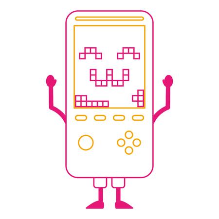tamagotchi game with pixel animal pet simulator vector illustration color line image