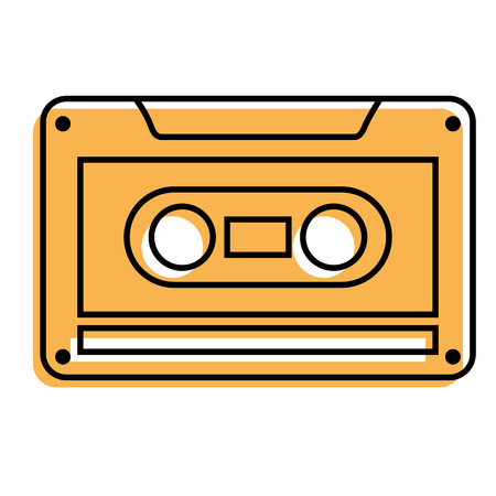 old retro audio tape record listen vector illustation