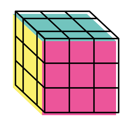 cube toy puzzle vintage icon vector illustration