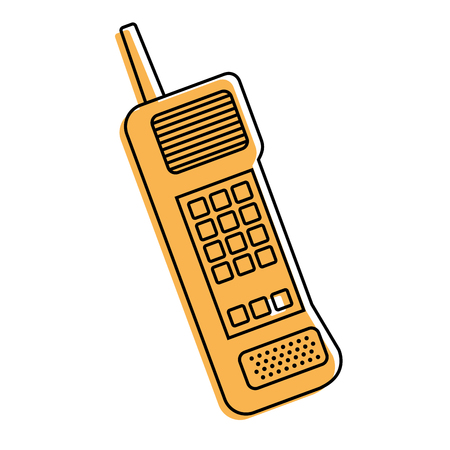 old mobile phone vintage communication icon vector illustration