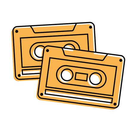 Cassettes recorder tape music vintage vector illustration