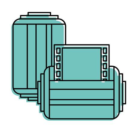 ●2枚のロールテープ写真ネガティブレトロデザインベクトルイラスト