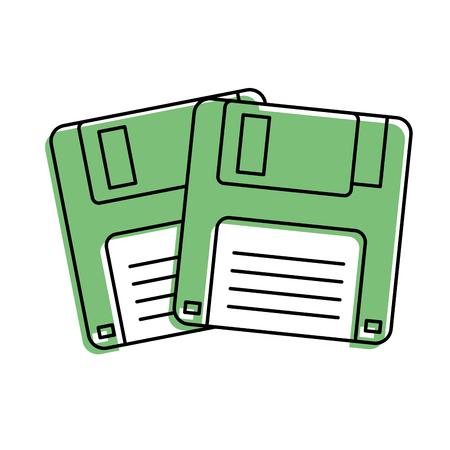 Two floppy memory vintage backup vector illustration Ilustracja