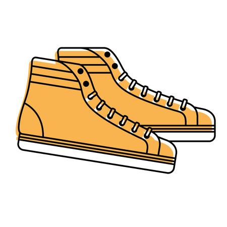 Scarpe da ginnastica classiche vintage allacciata moda retrò illustrazione vettoriale Archivio Fotografico - 94430051