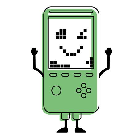 휴대용 비디오 게임 콘솔 카와이 문자 벡터 일러스트 녹색 디자인.