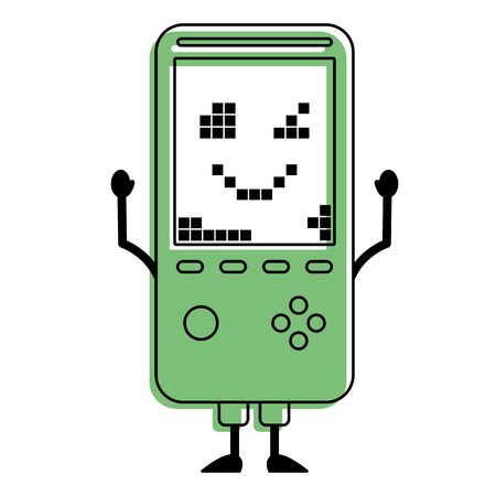 Portable video game console kawaii character vector illustration green design.