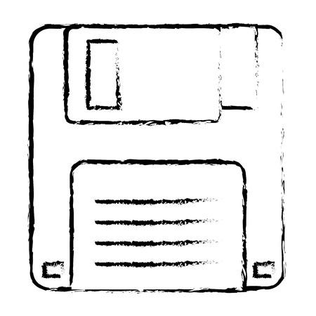 floppy disk icon data backup retro vector illustration