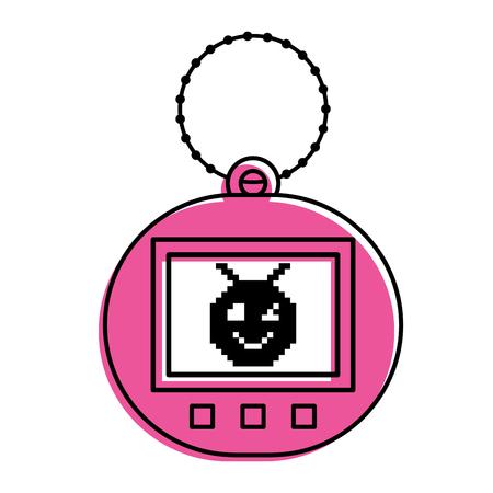 pink tamagotchi game with pixel animal pet simulator vector illustration
