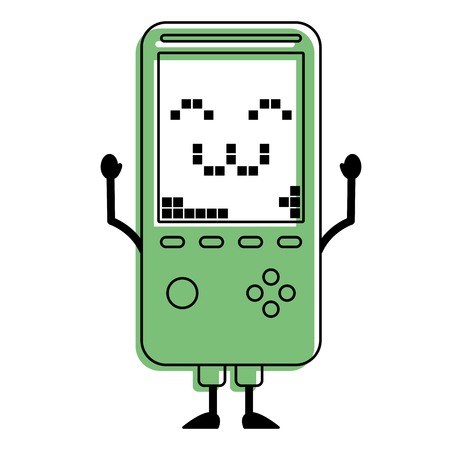 portable video game console kawaii character vector illustration green design 向量圖像