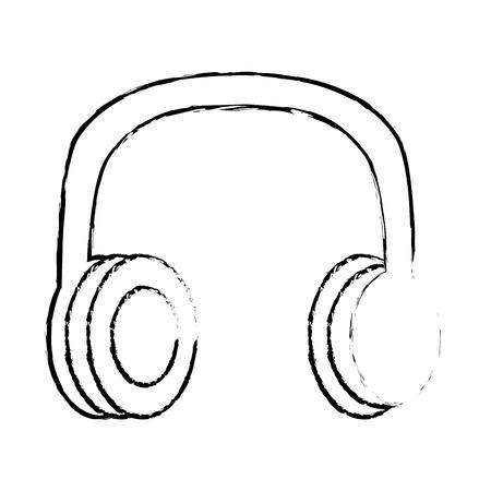 old vintage stereo headphones music vector illustration