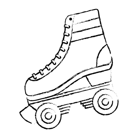 Klassische Roller Skate geschnürt Räder Retro Mode Vektor-Illustration Standard-Bild - 94430812