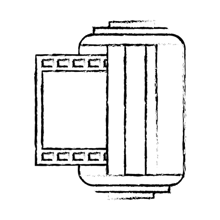 roll tape photographic camera vintage vector illustration