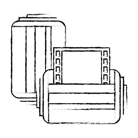 two roll tape photo negative retro design vector illustration Illustration