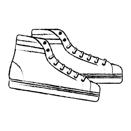 vintage classic sneakers laced fashion retro vector illustration Çizim