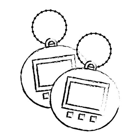 Ilustração em vetor bolso dispositivo eletrônico tamagotchi de brinquedo dois Foto de archivo - 94524467