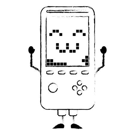ポータブルビデオゲームコンソール可愛いキャラクターベクトルイラスト