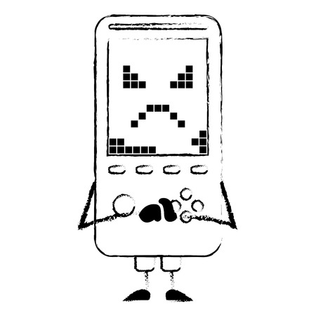 portable video game console kawaii character vector illustration