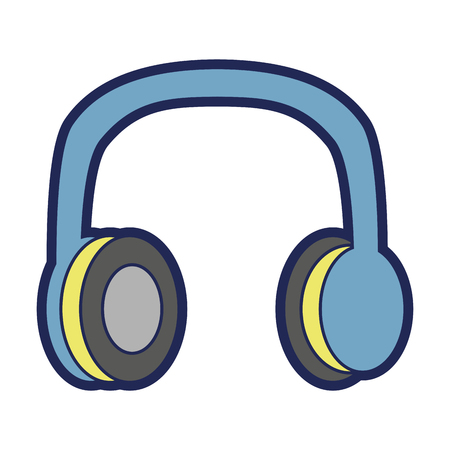 old vintage stereo headphones music vector illustration