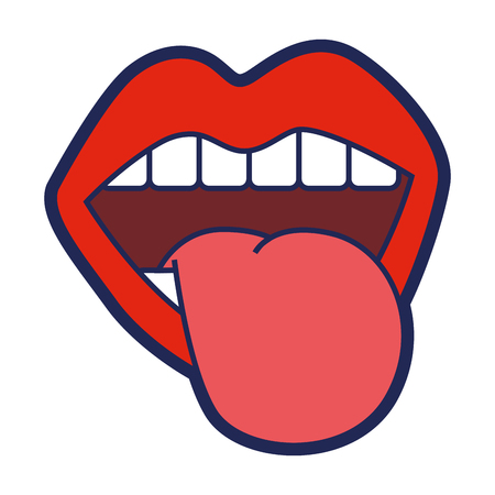 mouth tongue out vintage emblem vector illustration