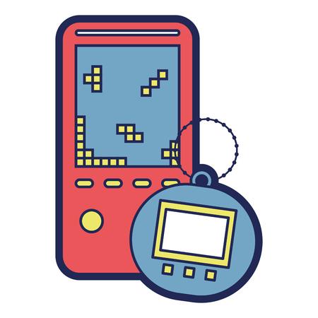 draagbare video game console en tamagotchi speelgoed vector illustratie Stock Illustratie