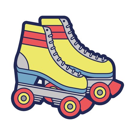 retro roller skates wheels trendy vintage vector illustration