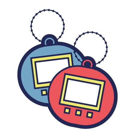 Ilustração em vetor bolso dispositivo eletrônico tamagotchi de brinquedo dois Foto de archivo - 94431542