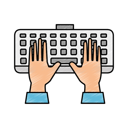 Computer keyboard with hands user. Vector illustration design.