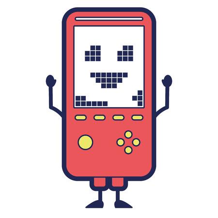 휴대용 비디오 게임 콘솔 캐릭터 벡터 일러스트 레이션