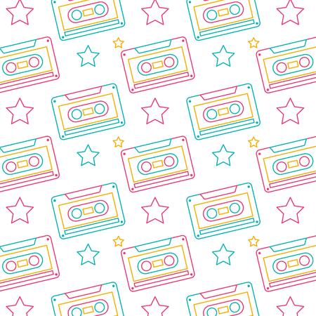 Illustration vectorielle de modèle sans couture cassette rétro magnétophone Banque d'images - 94431990