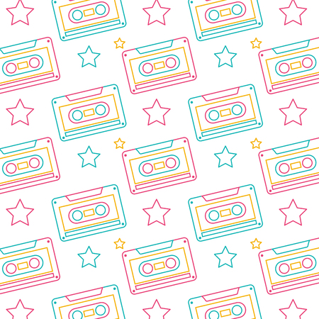 seamless pattern retro cassette tape recorder vector illustration
