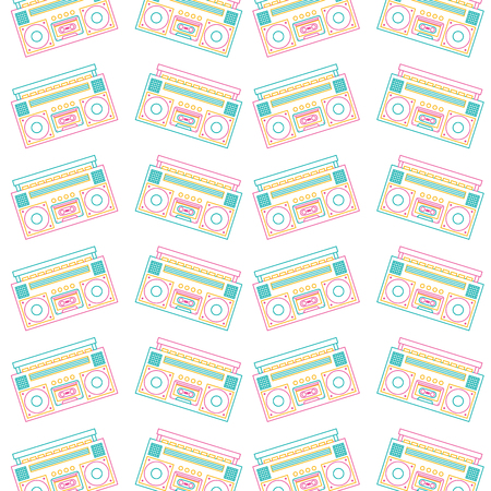 Seamless pattern stereo recorder player audio music vector illustration.