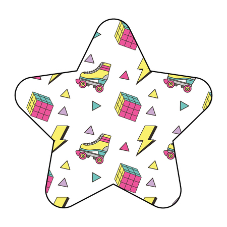 Pattern shape star with roller skate and puzzle cube vector illustration. Illustration