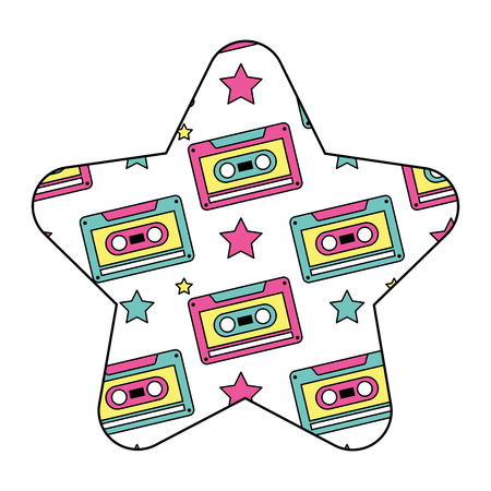 pattern shape star with retro cassette tape recorder vector illustration