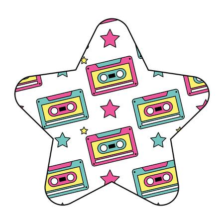 pattern shape star with retro cassette tape recorder vector illustration Stok Fotoğraf - 94432301