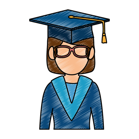 student graduated avatar character vector illustration design Ilustração