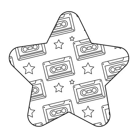 label shape star retro cassette tape recorder vector illustration outline design Ilustração