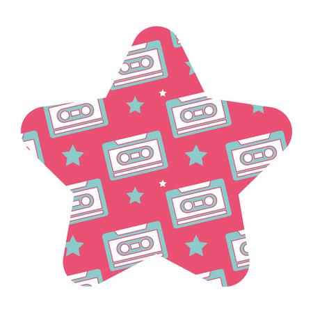 label shape star retro cassette tape recorder vector illustration pink background
