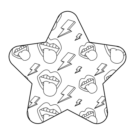 pattern shape star with mouth tongue out rock and roll retro vector illustration outline desing