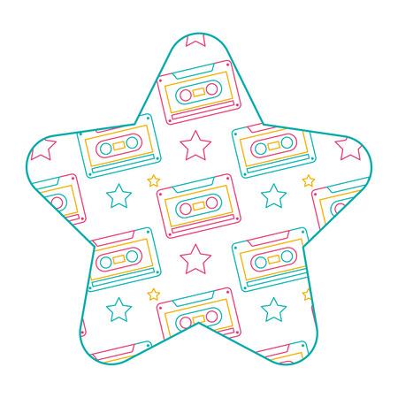 Label shape star retro cassette tape recorder vector illustration color line design