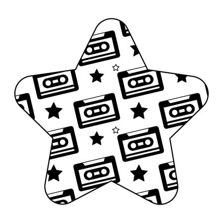 label shape star retro cassette tape recorder vector illustration black image