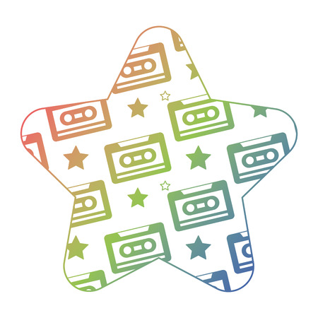 label shape star retro cassette tape recorder vector illustration color texture gradient