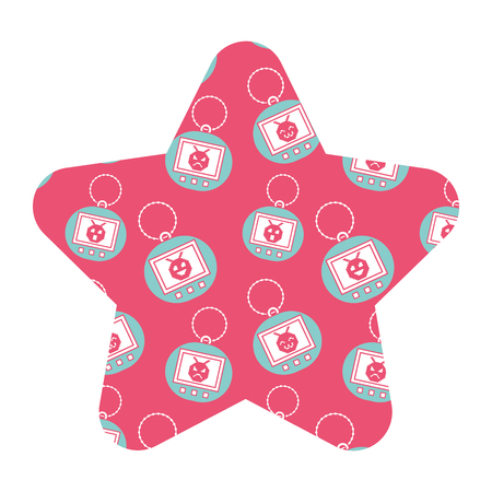 label vorm ster retro speelgoed vintage tamagotchi vector illustratie roze achtergrond Stock Illustratie