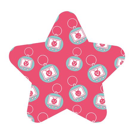 label shape star retro toy vintage tamagotchi vector illustration pink background