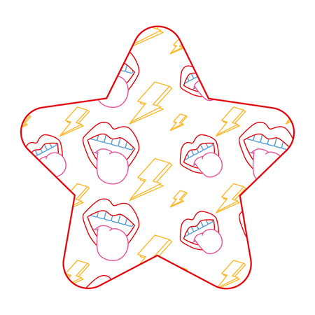 Label shape star retro mouth tongue out rock and roll. Vector illustration color line design.